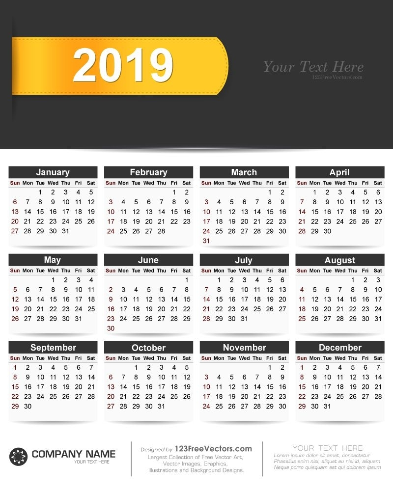 2019 Calendar Vector Free Download | Vector Free, Vector