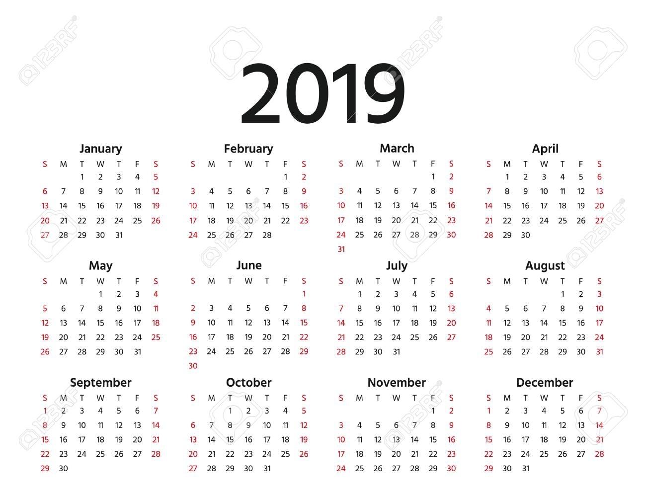 2019 Calendar. Vector. Week Starts Sunday In Minimal Simple Style