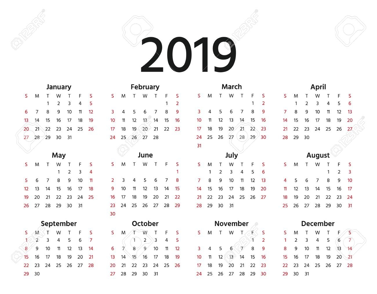 2019 Calendar. Vector. Week Starts Sunday In Minimal Simple Style