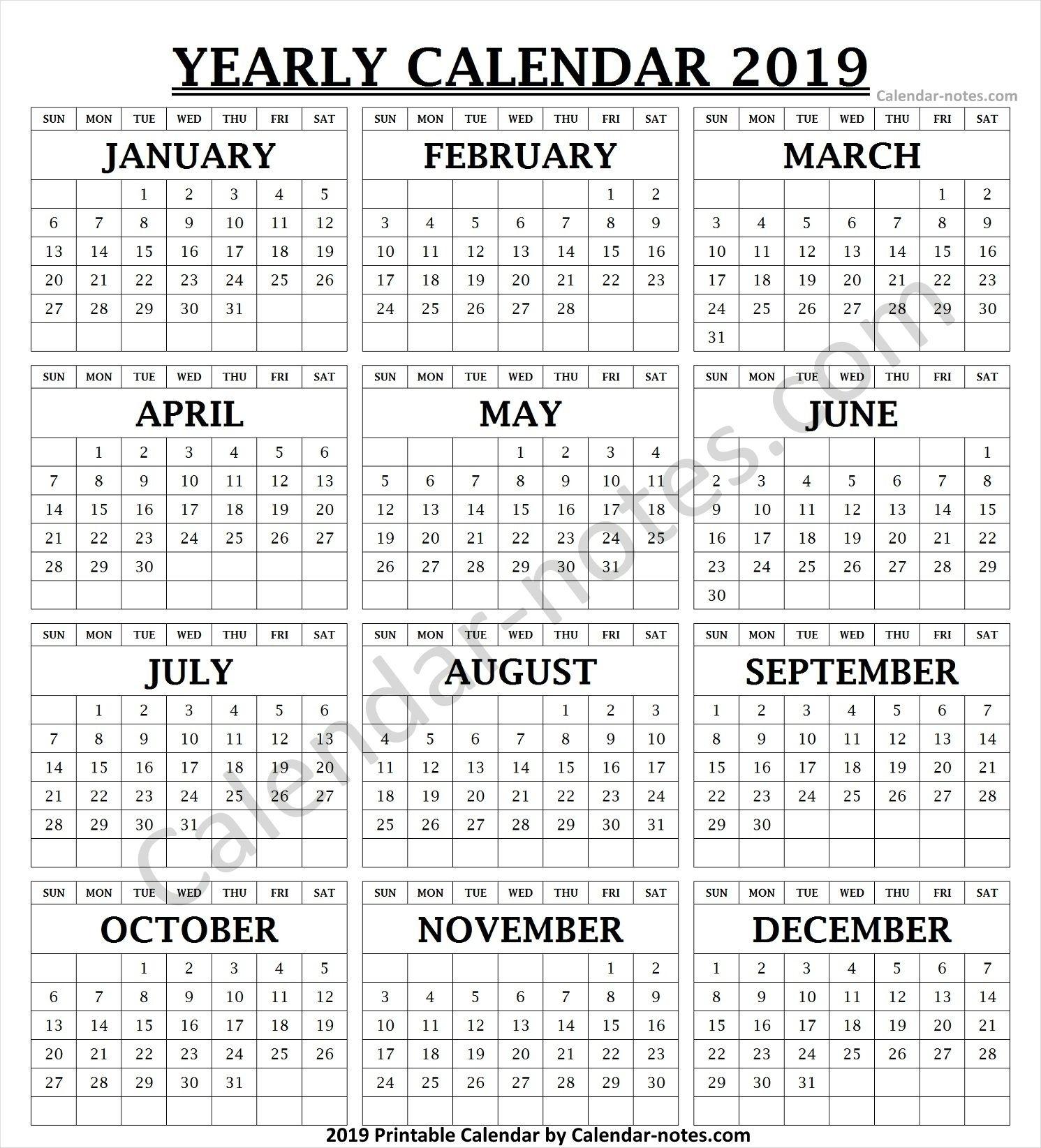2019 Calendar Vertical List | 2019 Calendar, Calendar