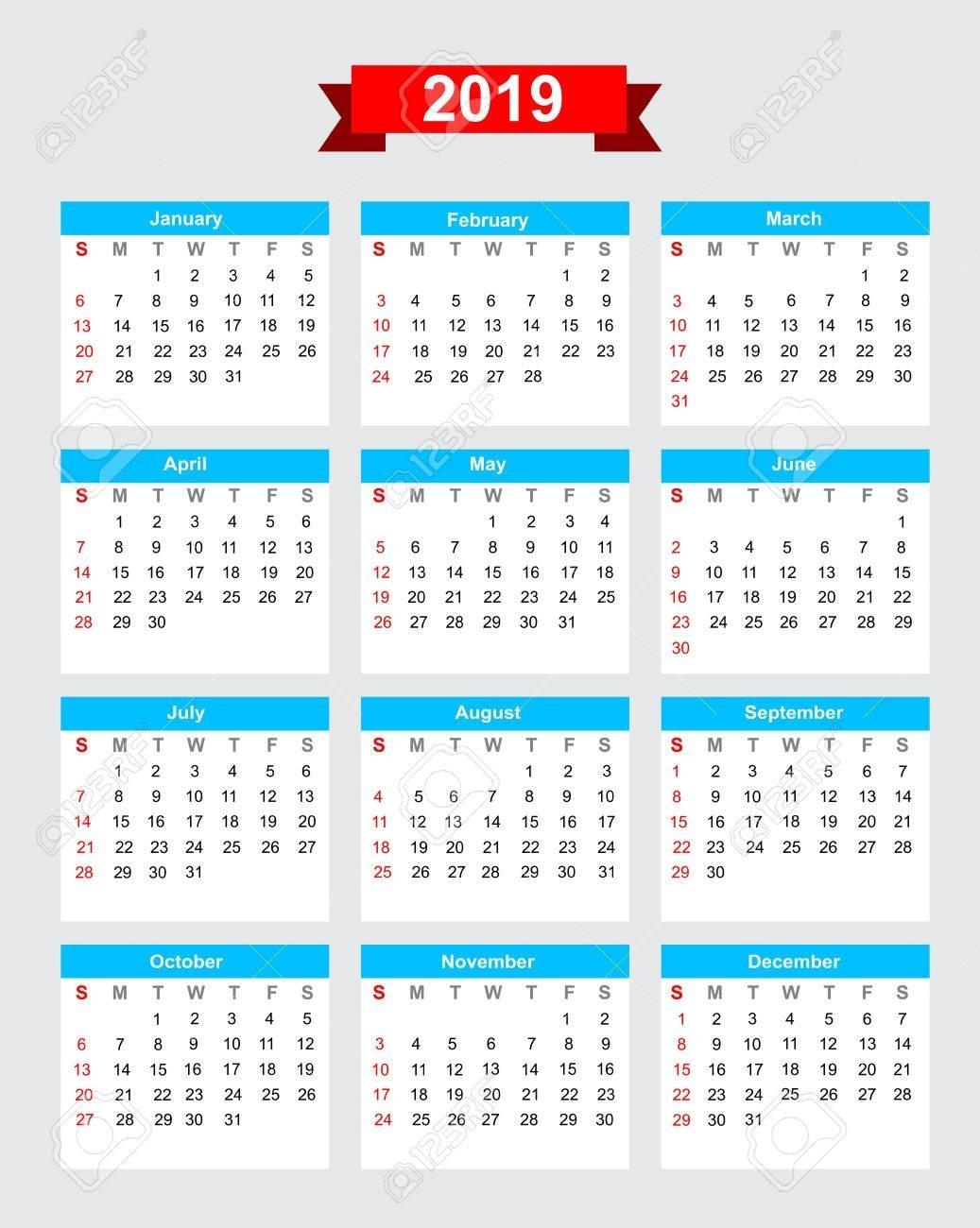 2019 Calendar Week Start Sunday Vector