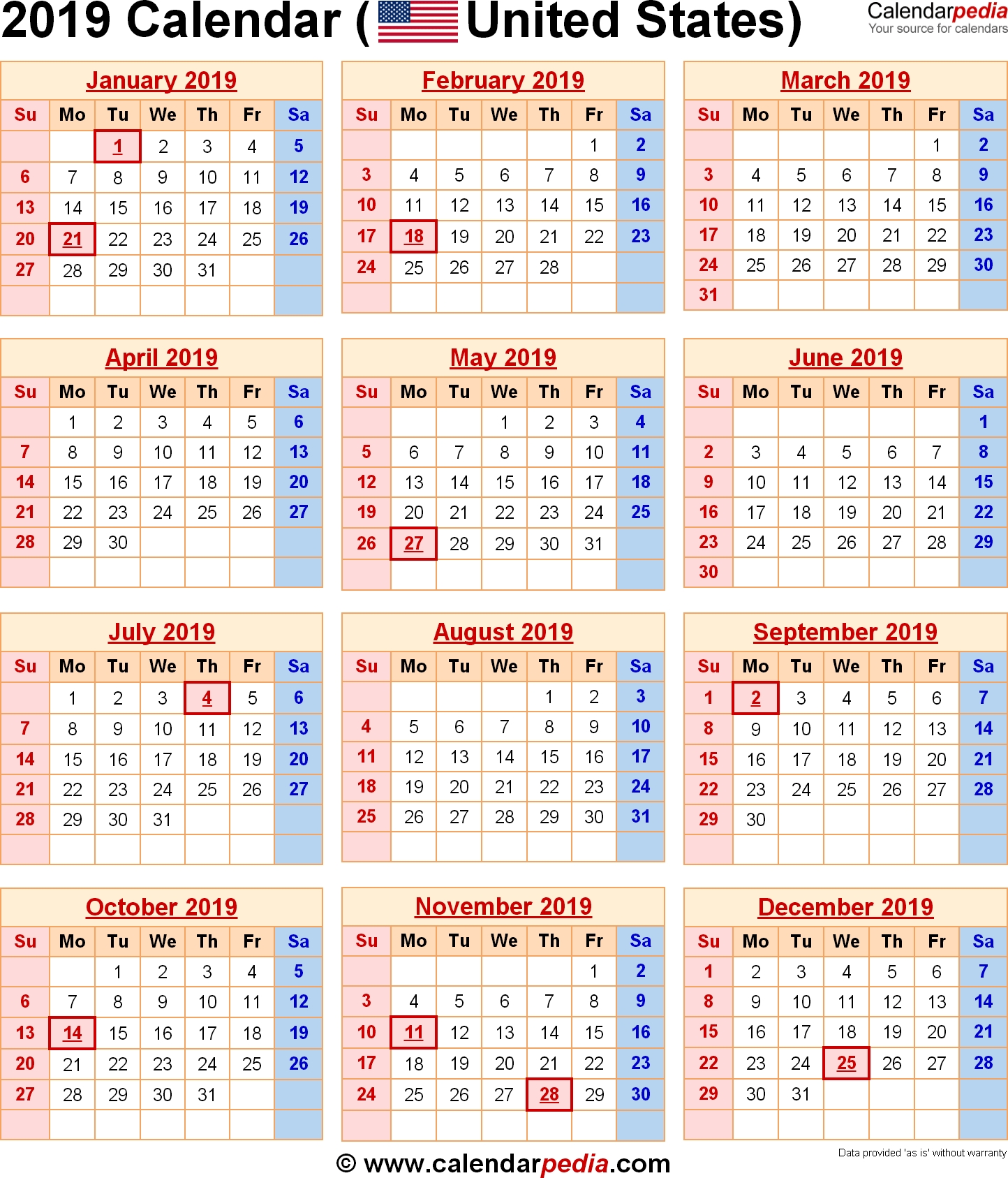 2019 Calendar With Federal Holidays