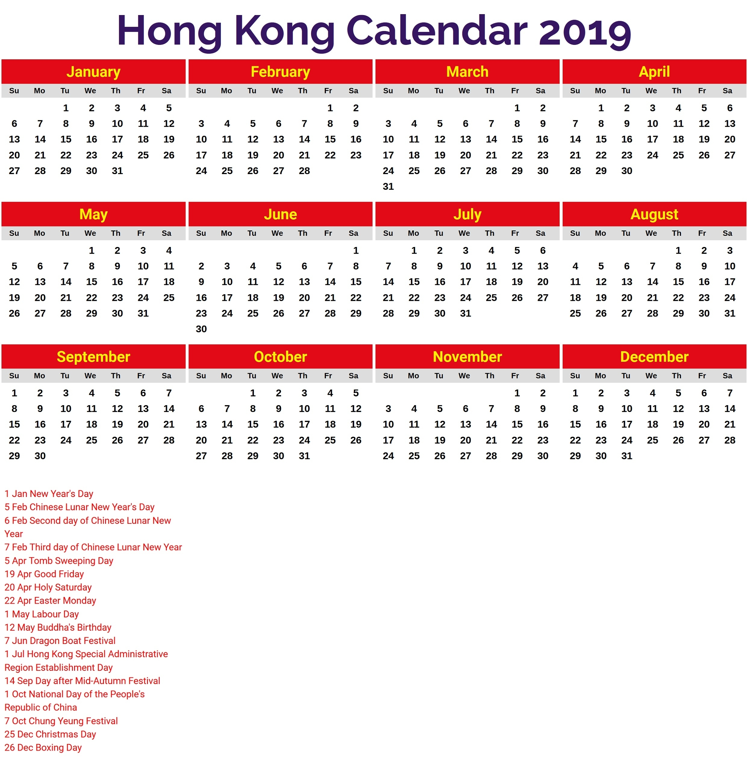 2019 Calendar With Holidays Printable | Calendar Shelter