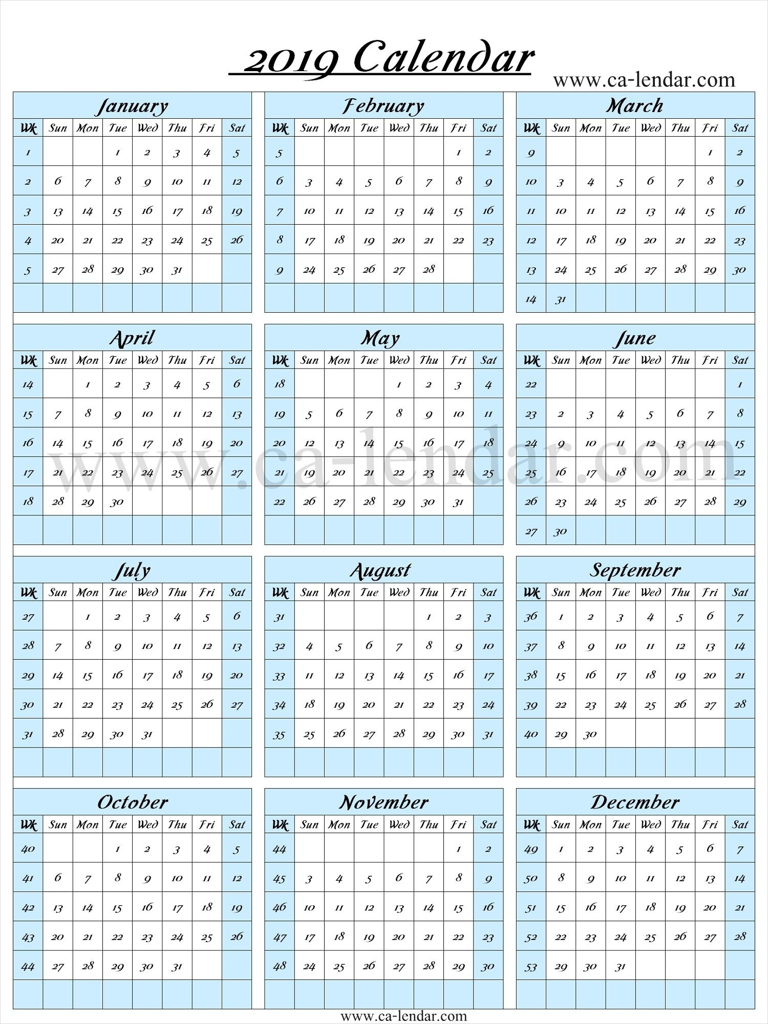 2019 Calendar With Week Numbers | Calendar With Week Numbers