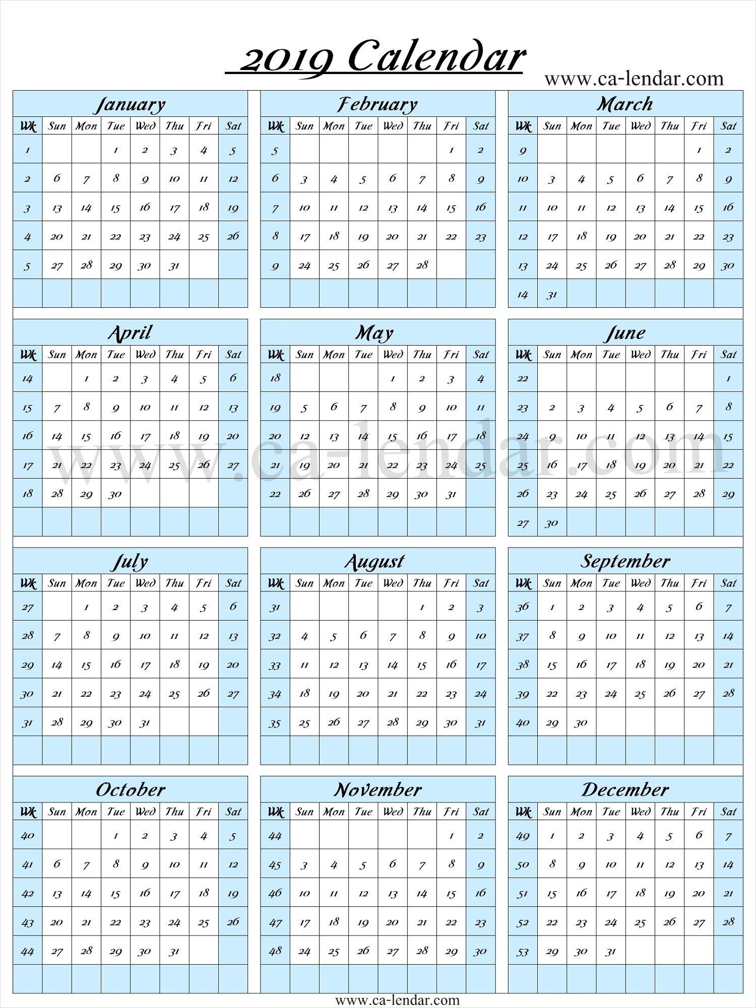 2019 Calendar With Week Numbers   Calendar With Week Numbers