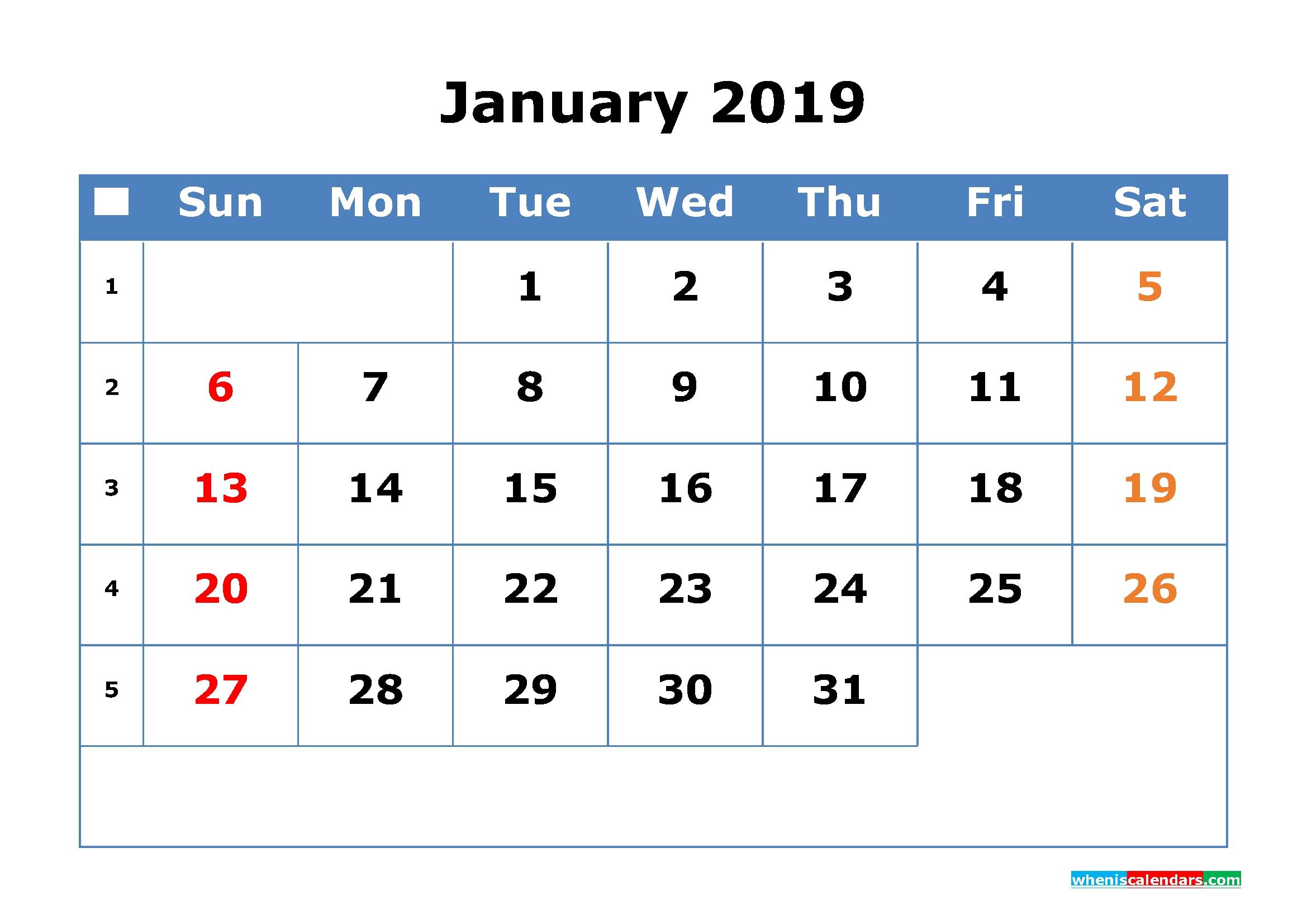 2019 Calendar With Week Numbers Printable As Pdf, Image