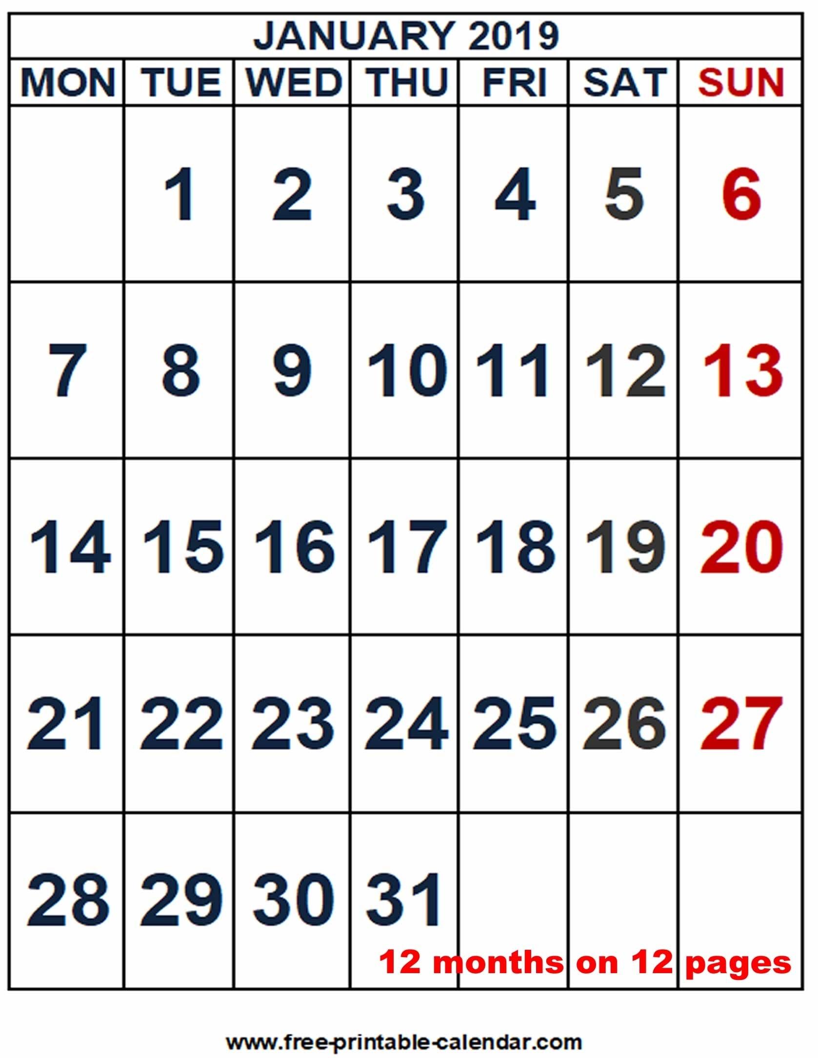 2019 Calendar Word Template - Free-Printable-Calendar