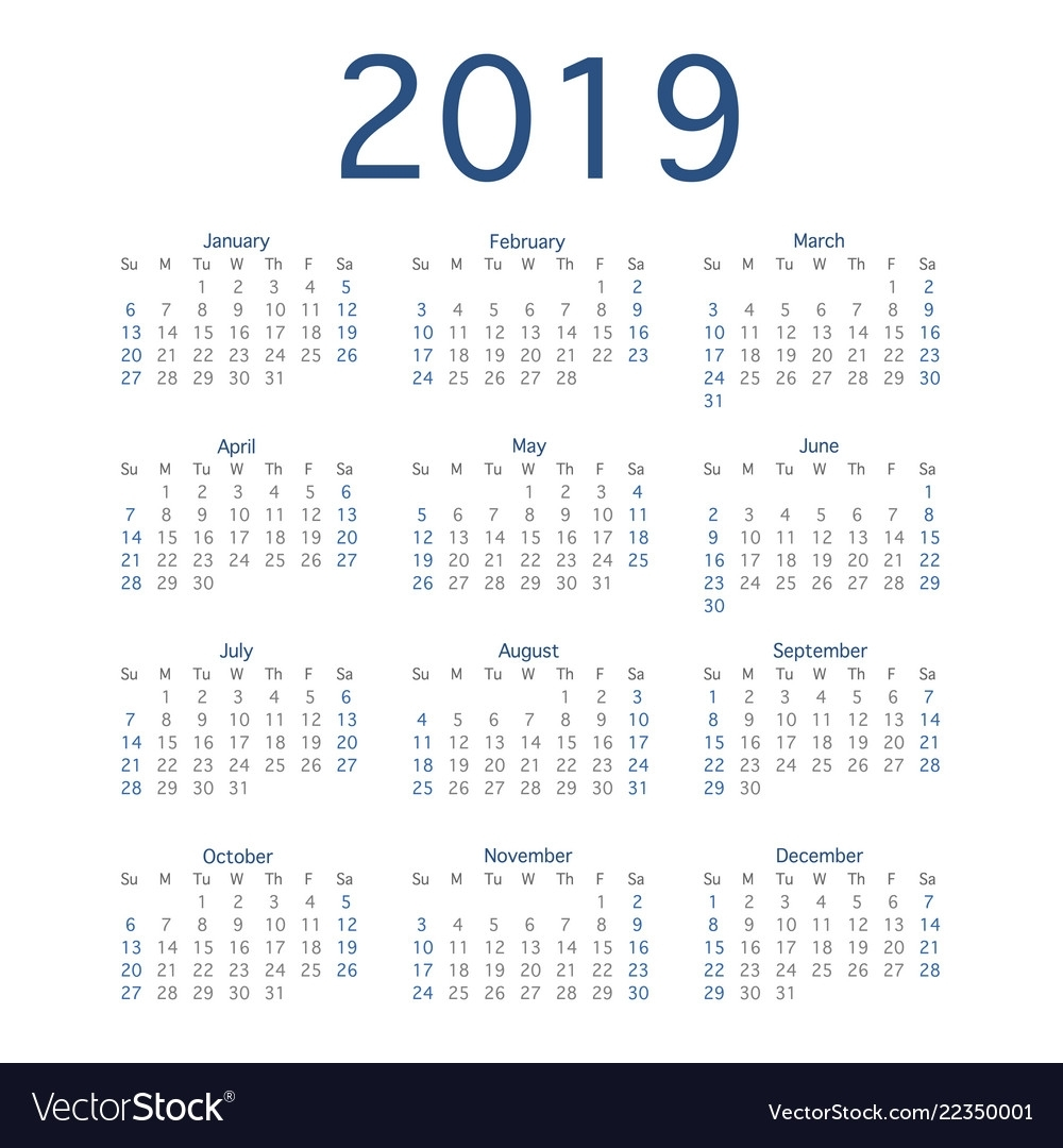 2019 Calendar Year Simple Calendar Layout For