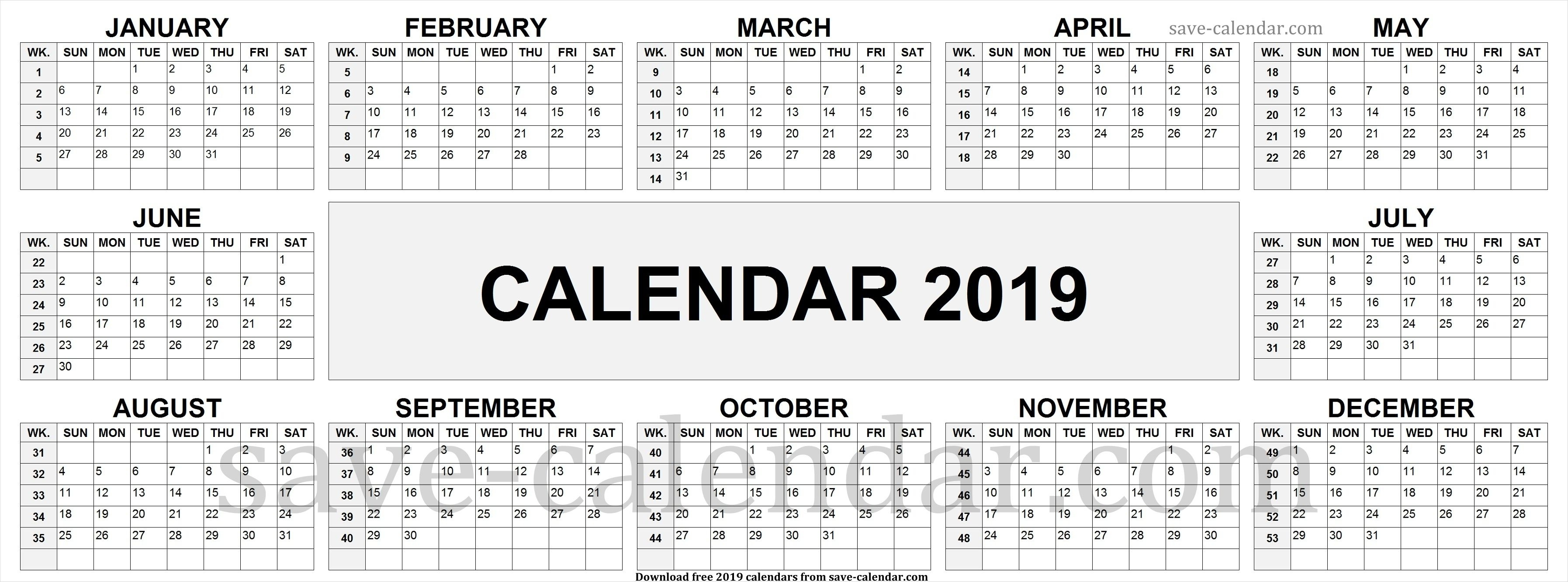 2019 Calendarweek Numbers | Week Number, 2019 Calendar