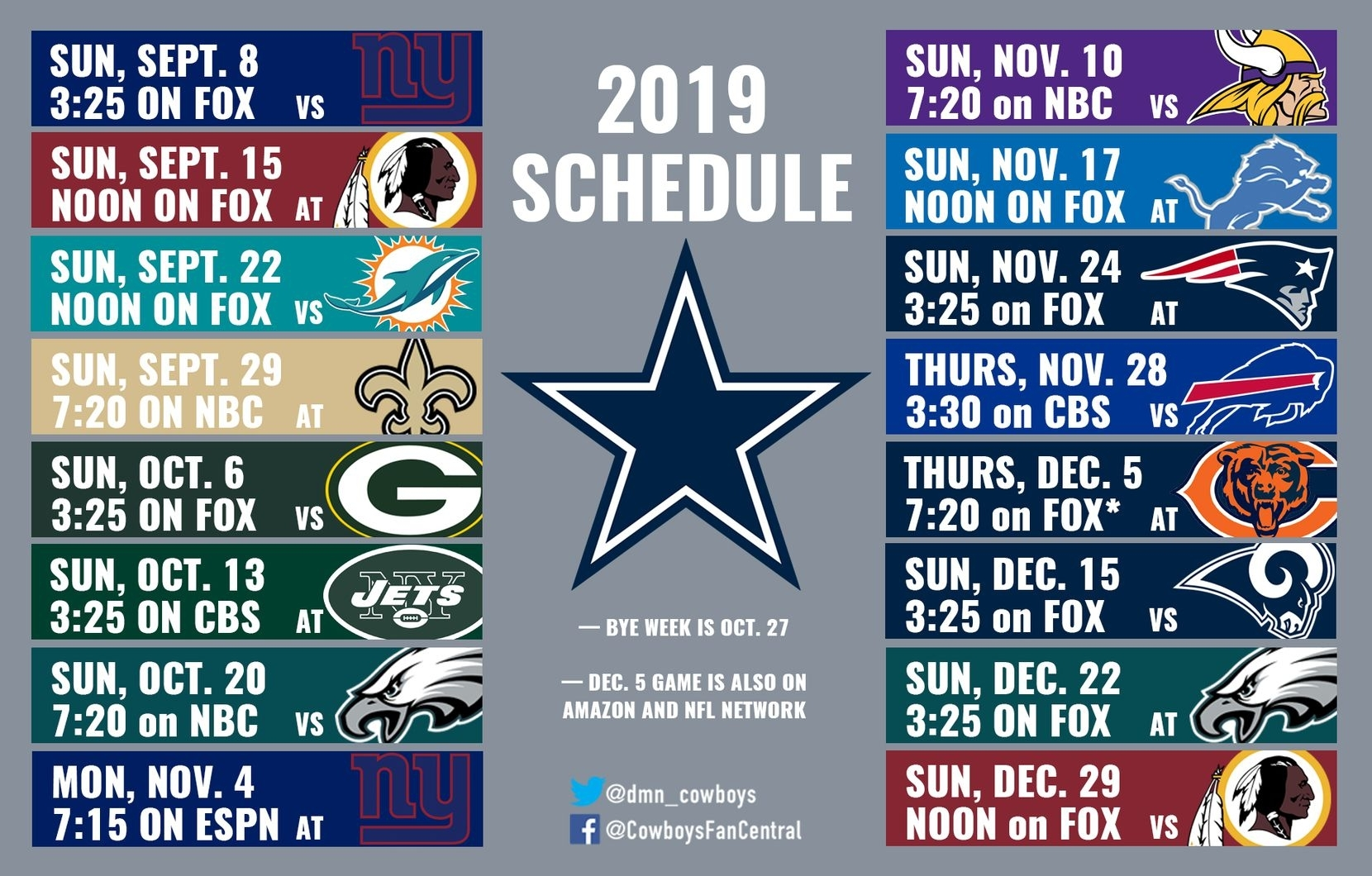 2019 Cowboys Schedule: Dallas Hosts Giants In Opener