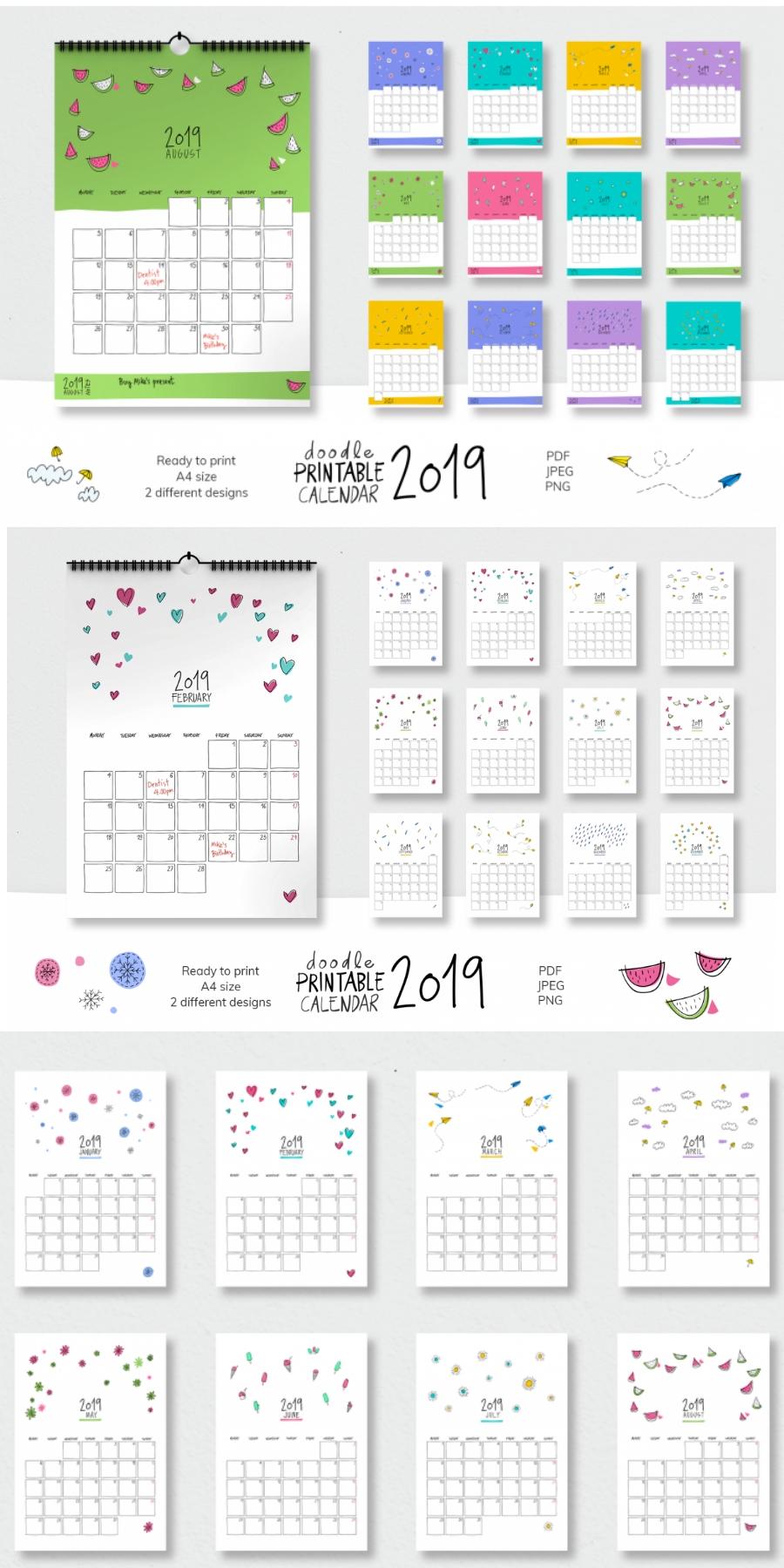 2019 Doodle Printable Calendar | Calendar Doodles, Planner