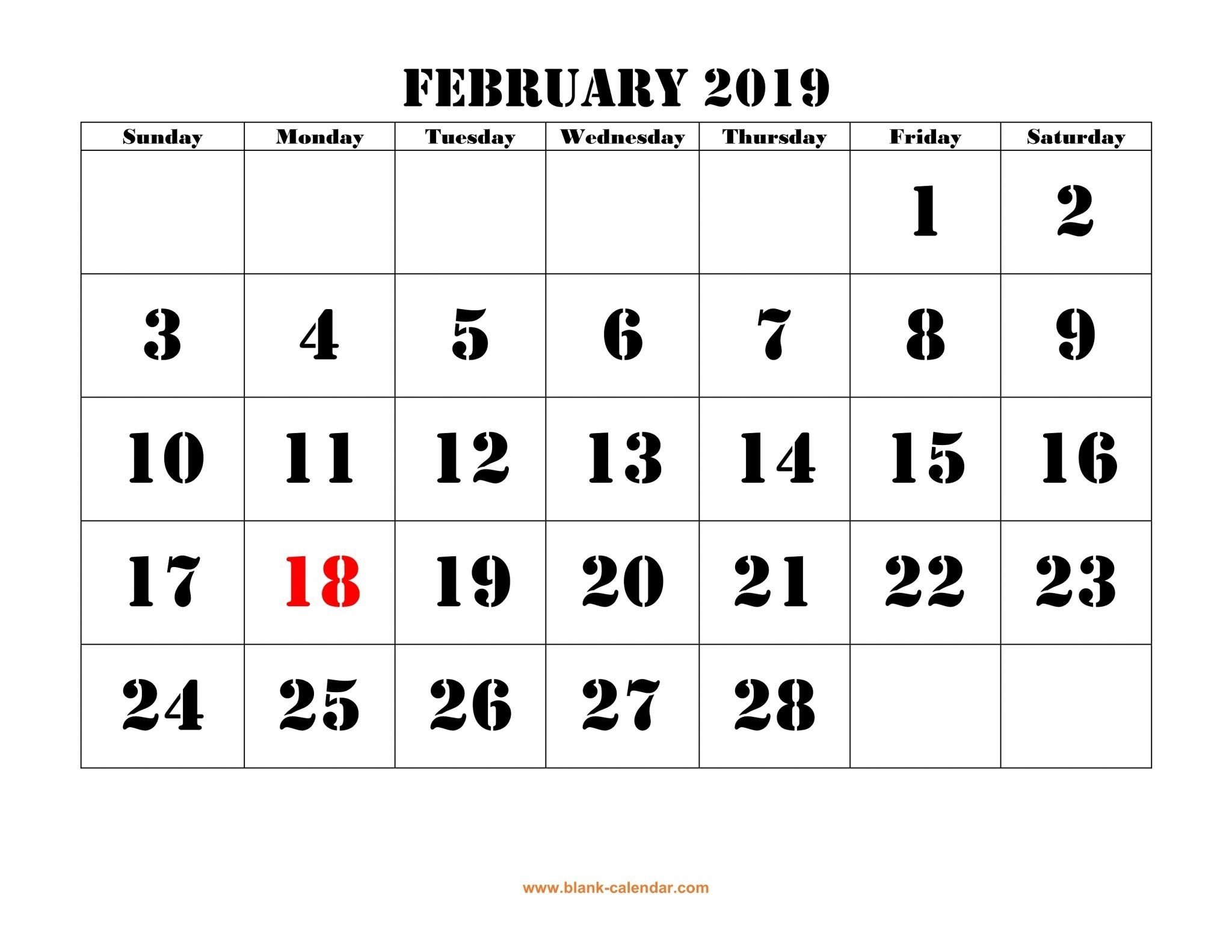 2019 February Calendar Printableweek And Dates | Monthly