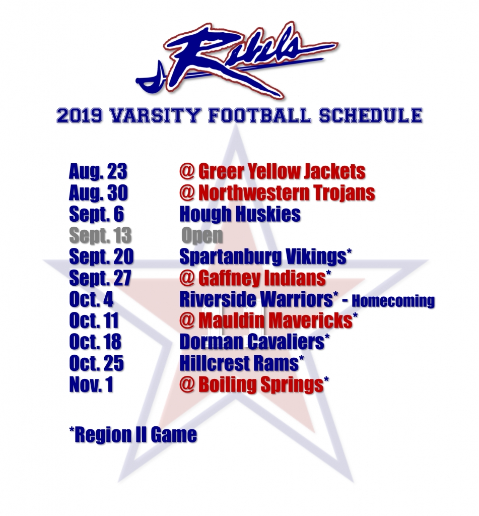 2019 Football Schedule – James F Byrnes Athletics