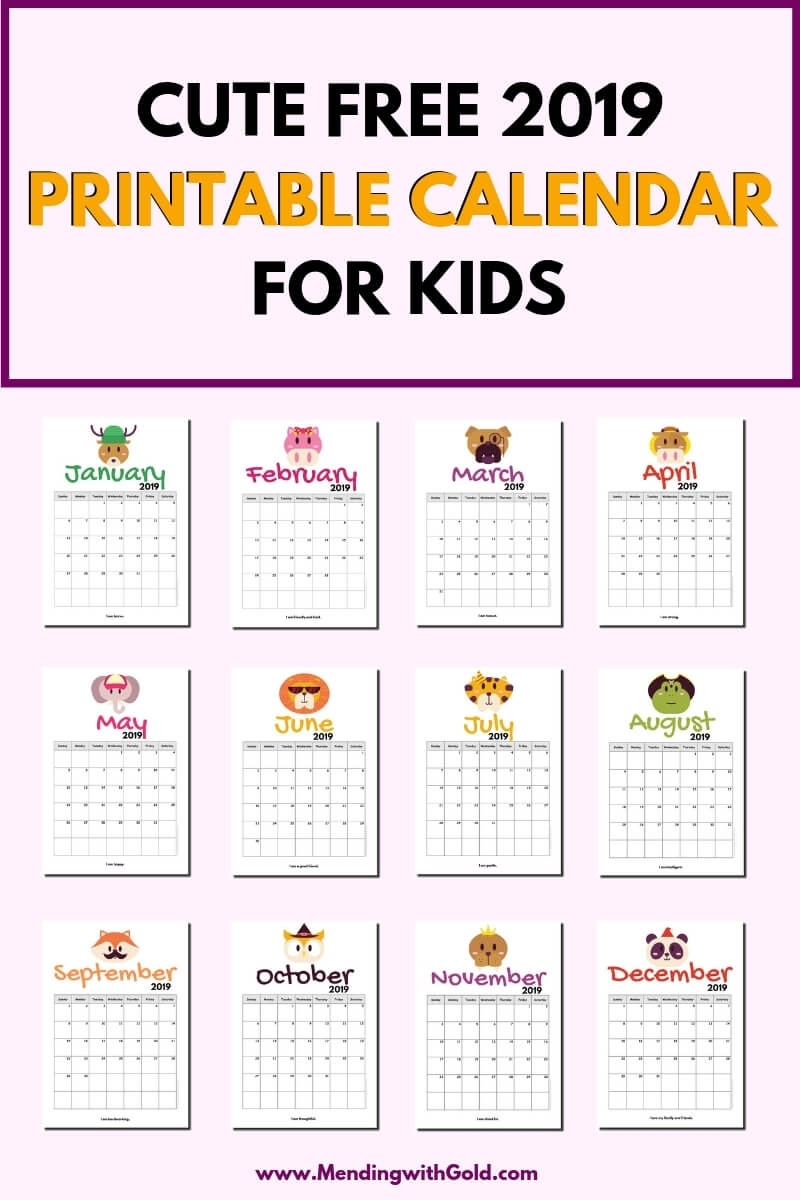 2019 Free Printable Calendar For Kids ('cause Children Love