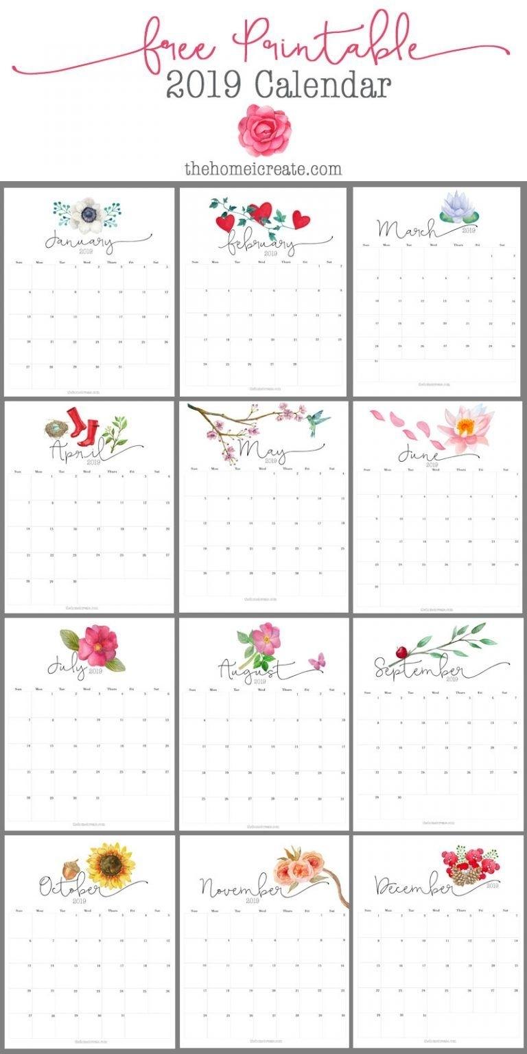 2019 Free Printable Calendar   House   Free Printable