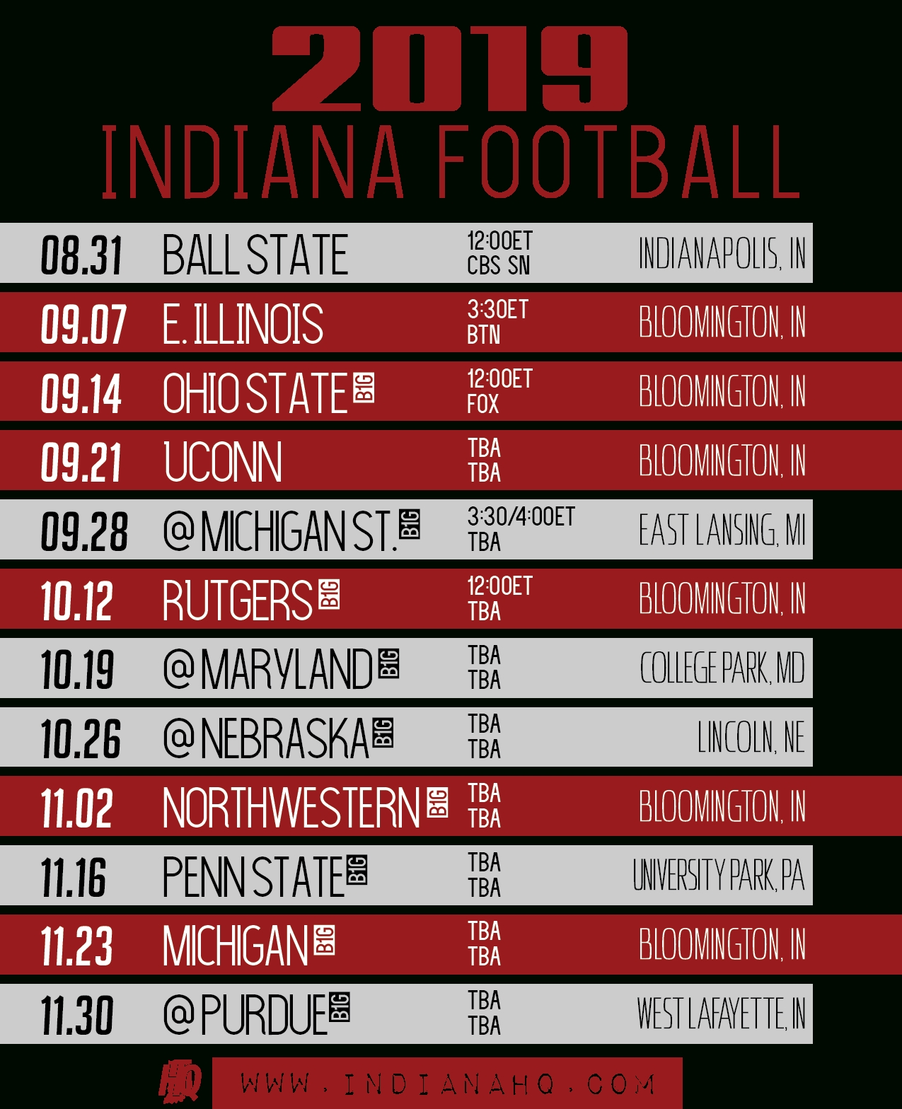 2019 Indiana Football Schedule (Printable) - Indianahq