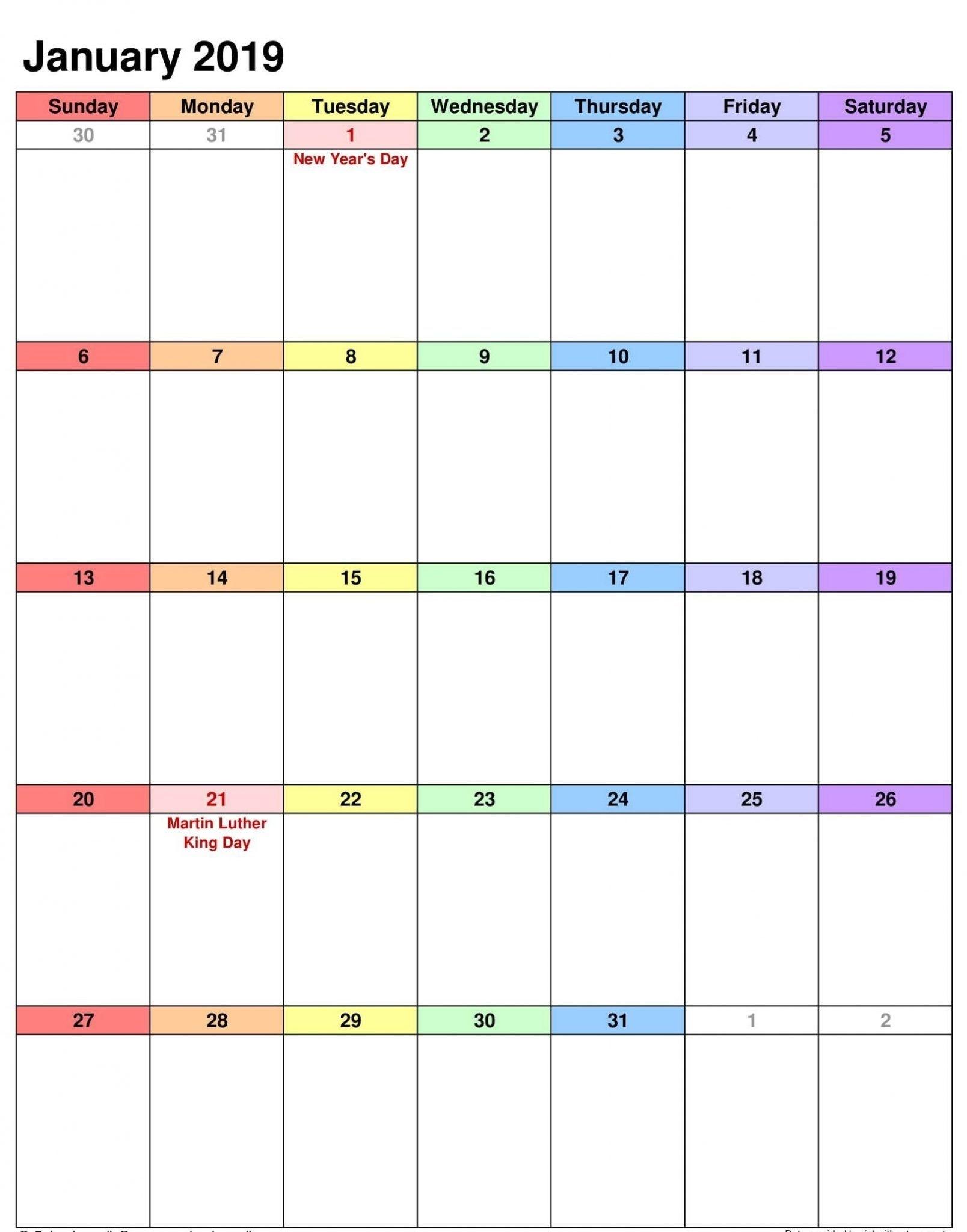 2019 January Calendar Portrait | Calendar, Printable