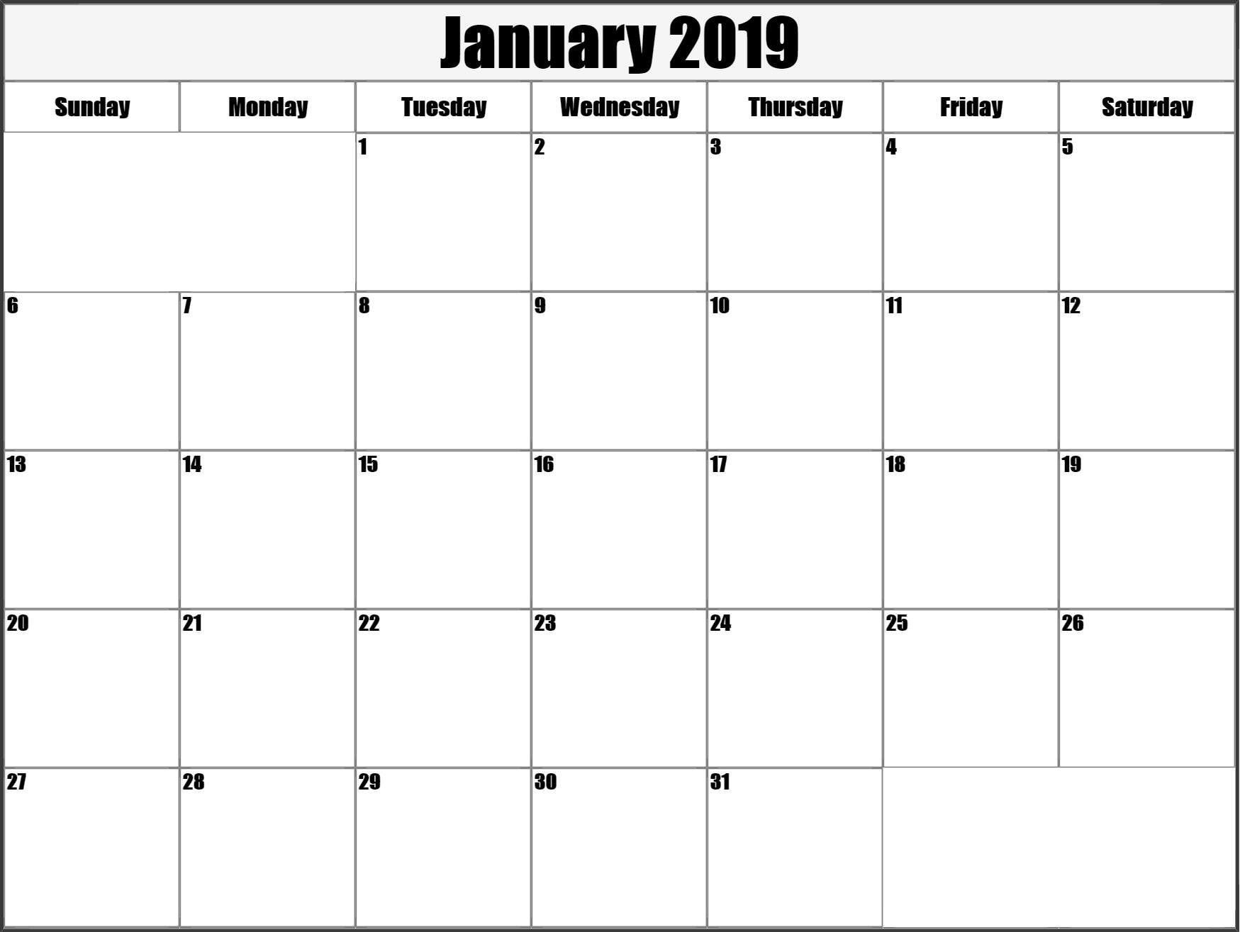 2019 January Calendar #printable Planner Free Download