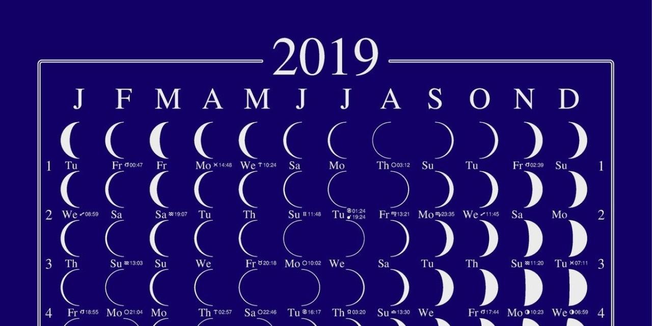 2019 Lunar Calendar Moon Calendar Llun Calendar Moonphase
