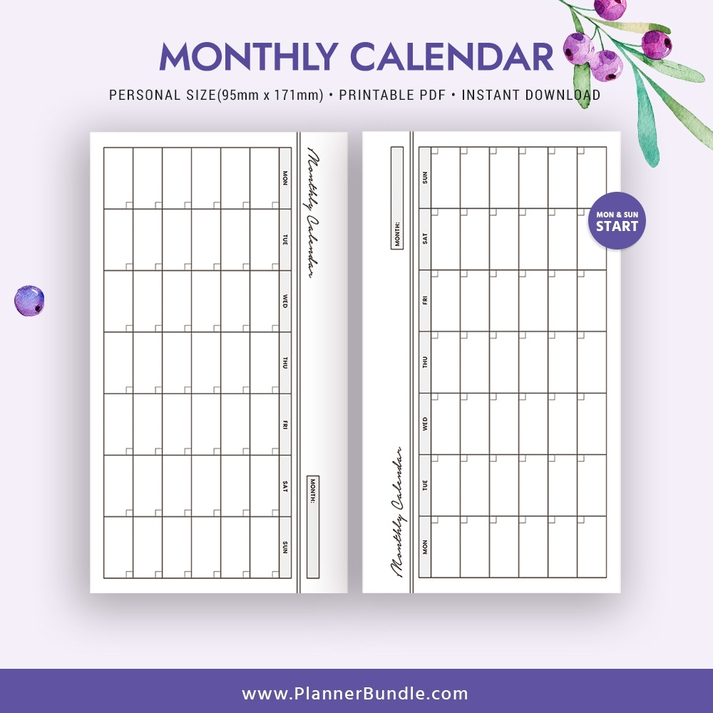 2019 Monthly Calendar, Printable Personal Size Inserts, 2019 Planner,  Filofax Personal, Instant Download, Planner Pages, Planner Design, Best  Planner