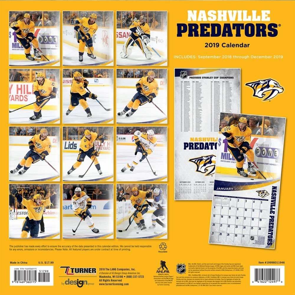 2019 Nashville Predators Wall Calendar,turner Licensing