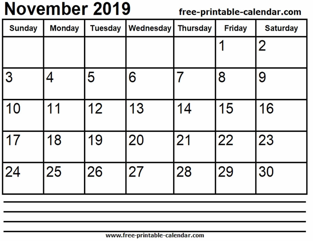 2019 November Calendar Printable - Free-Printable-Calendar