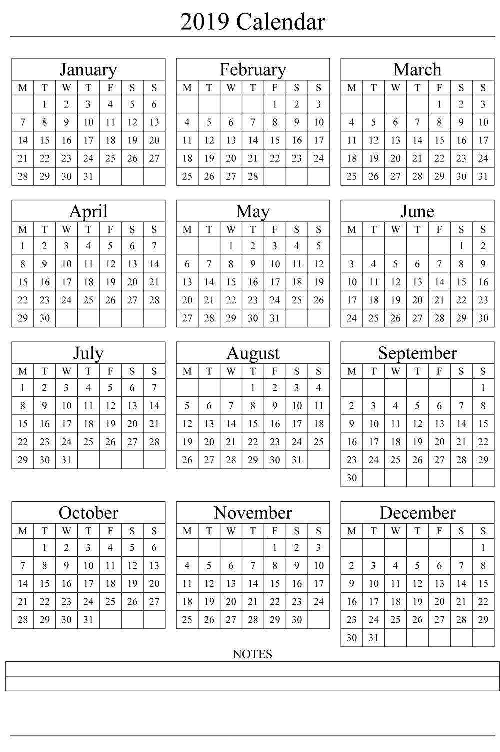 2019 One Page Calendar With Notes | Printable Yearly