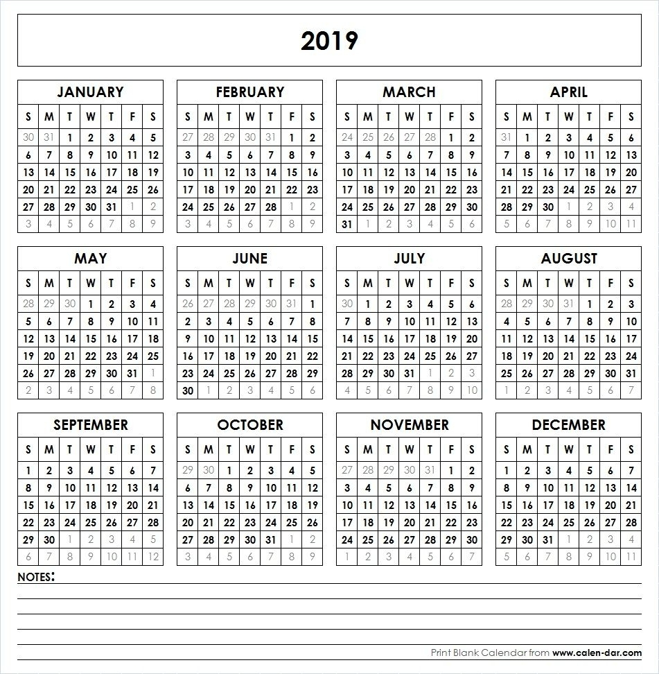 2019 Printable Calendar | Calendar 2019 Printable, Yearly