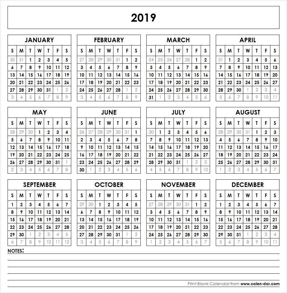 2019 Printable Calendar | Calendar 2019 Printable, Yearly