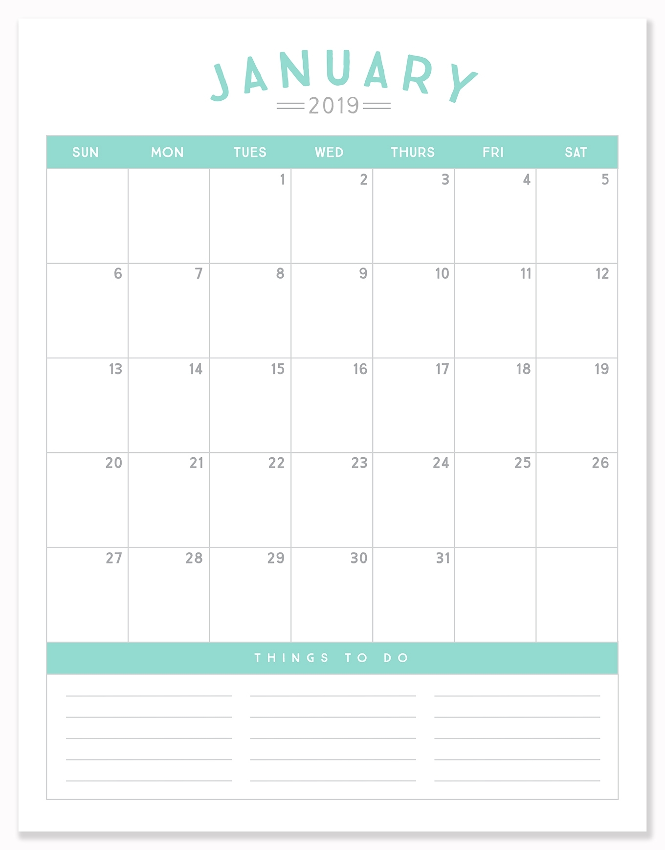 2019 Printable Calendar Download - Simple As That
