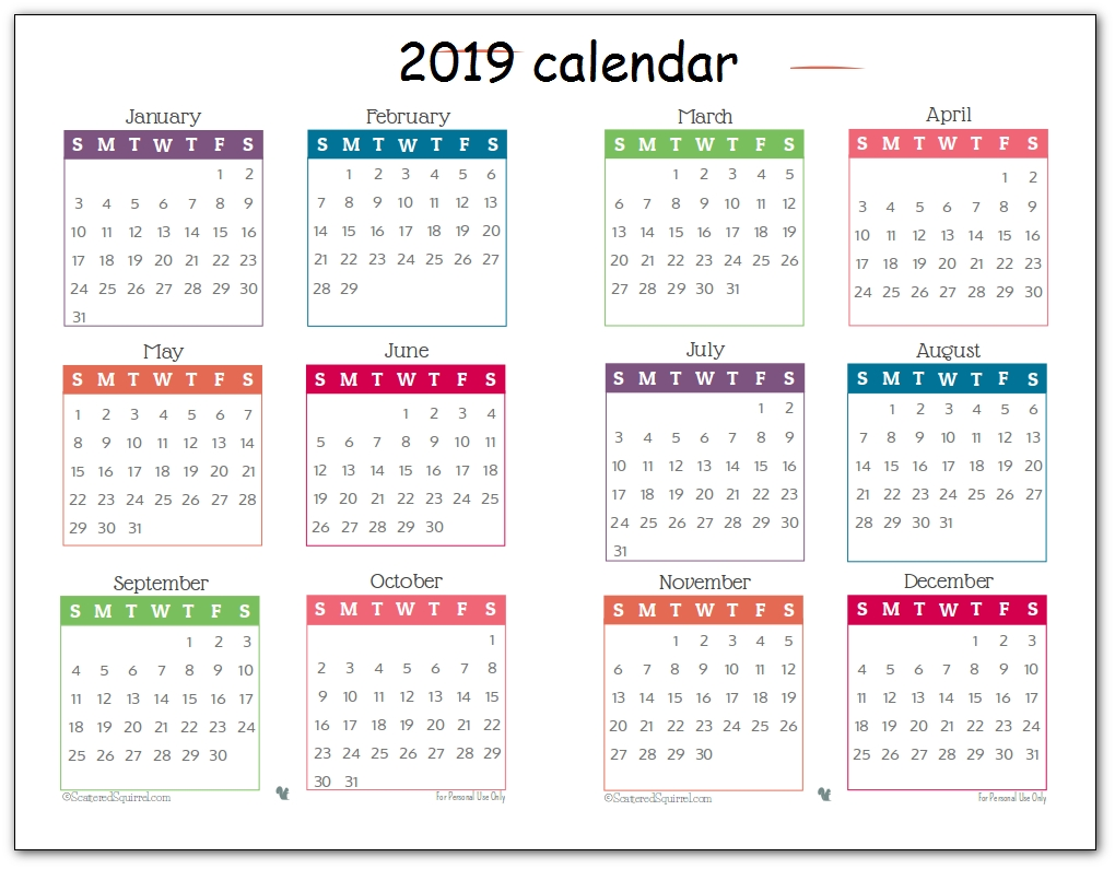 2019 Printable Calendar One Page Cute - Free August 2019