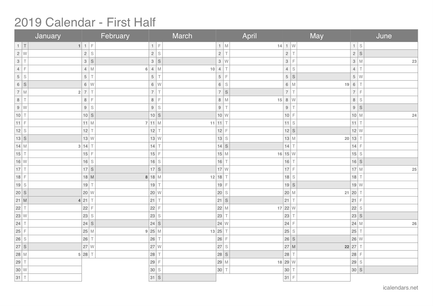 2019 Printable Calendar - Pdf Or Excel - Icalendars