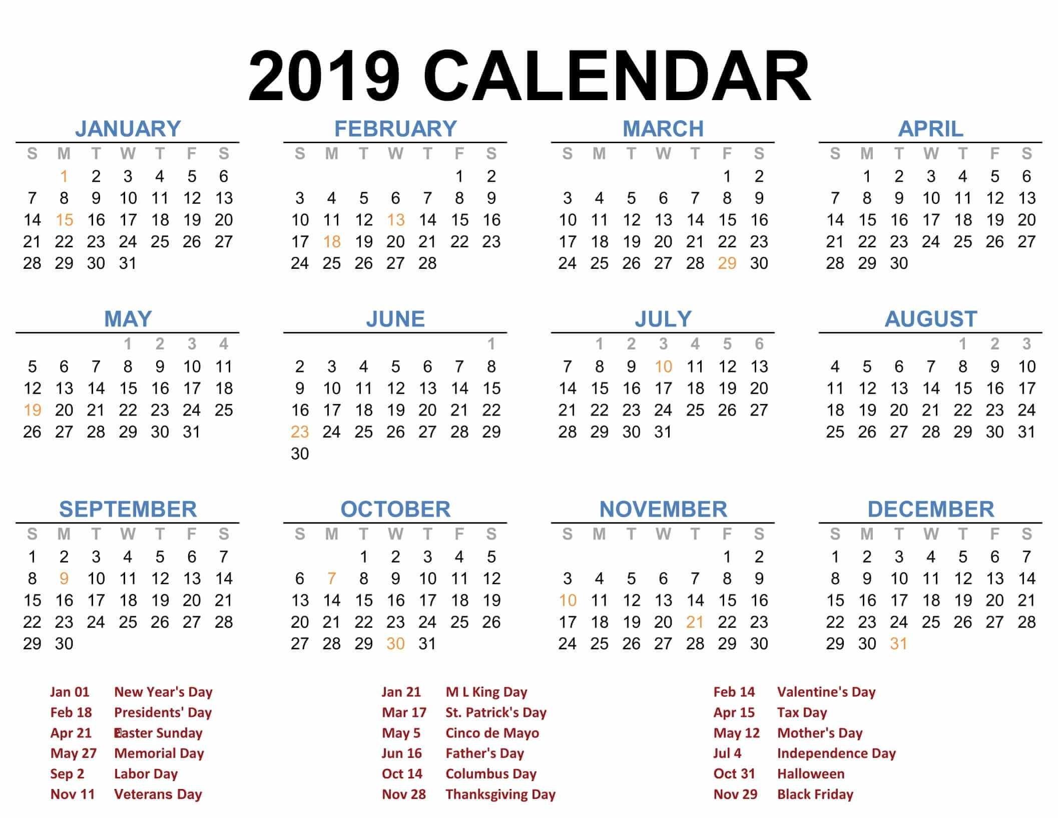 2019 Printable Calendar Templates - Pdf Excel Word - Free