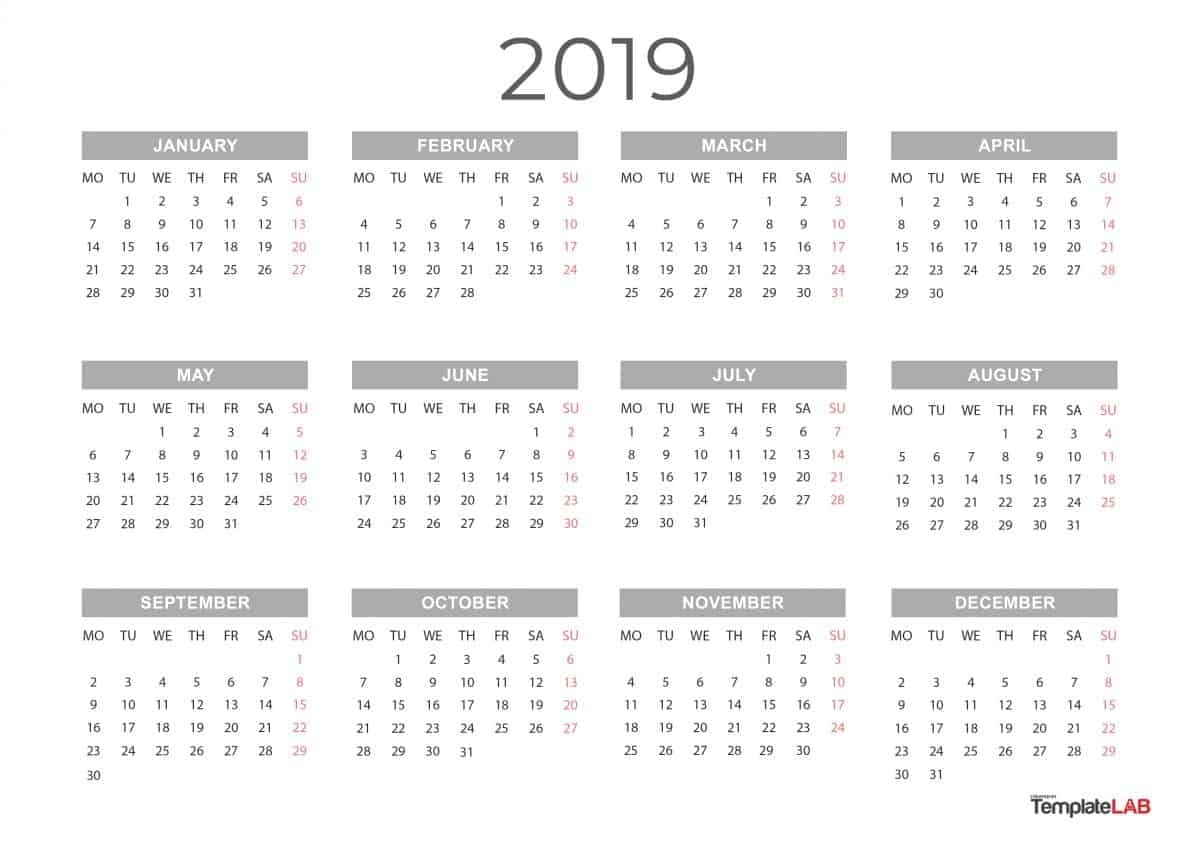 2019 Printable Calendars [Monthly, With Holidays, Yearly] ᐅ