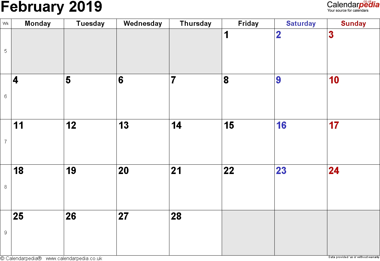 2019-Printable-Docx-Pdf-Calendar-February-2019-Printable-Uk