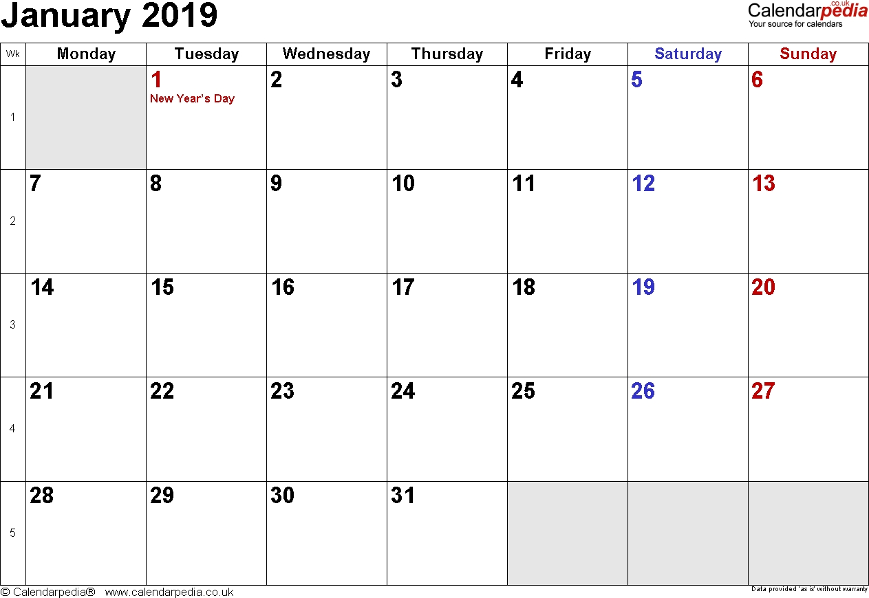 2019-Printable-Docx-Pdf-Calendar-January-2019-Printable-Uk