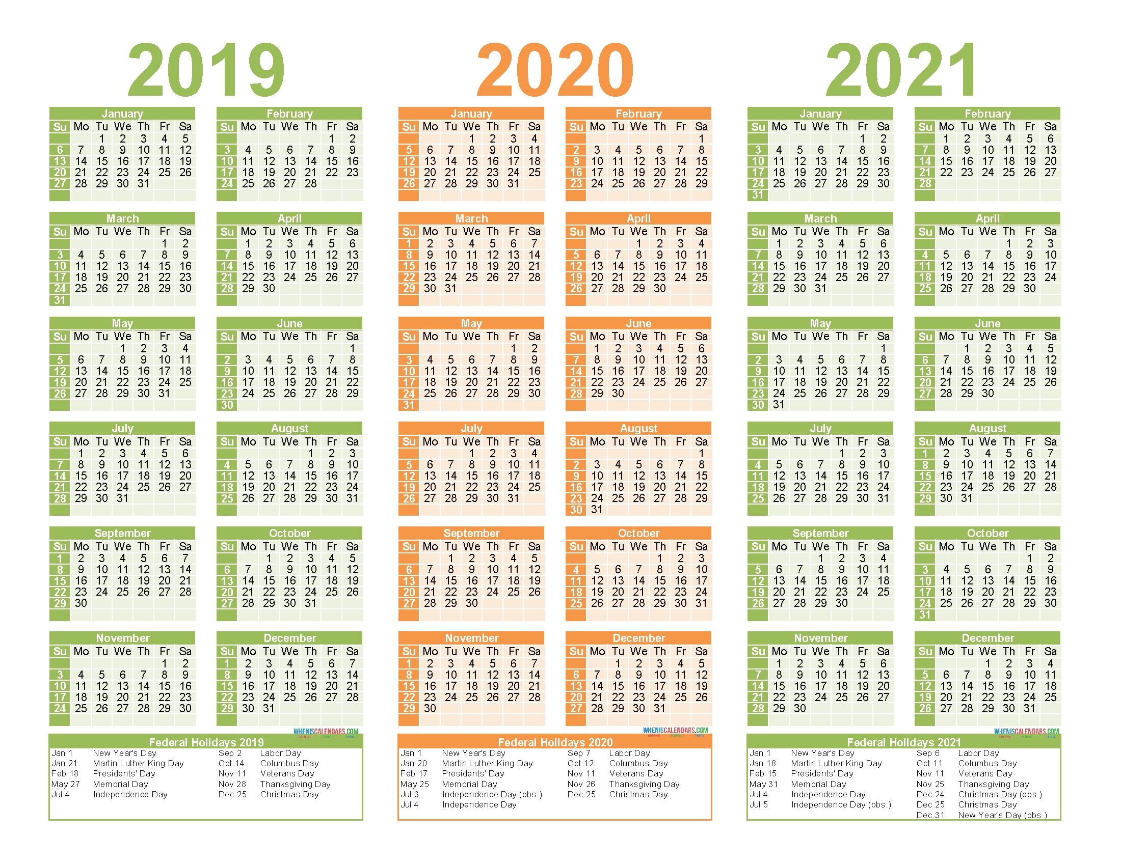 2019 To 2021 Calendar Printable Free Pdf, Word, Image | Free