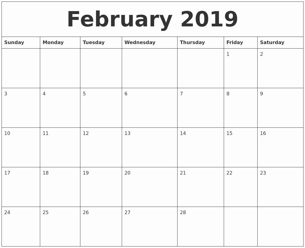 2019 Uk February Template Monthly Printable::february 2019