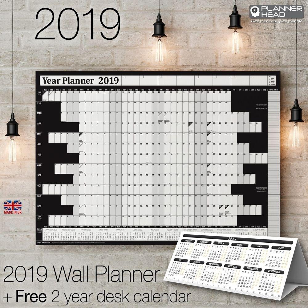 2019 Wall Planner Year Planner Calender Wall Chart✔Black +Free Desktop  Calendar | Ebay