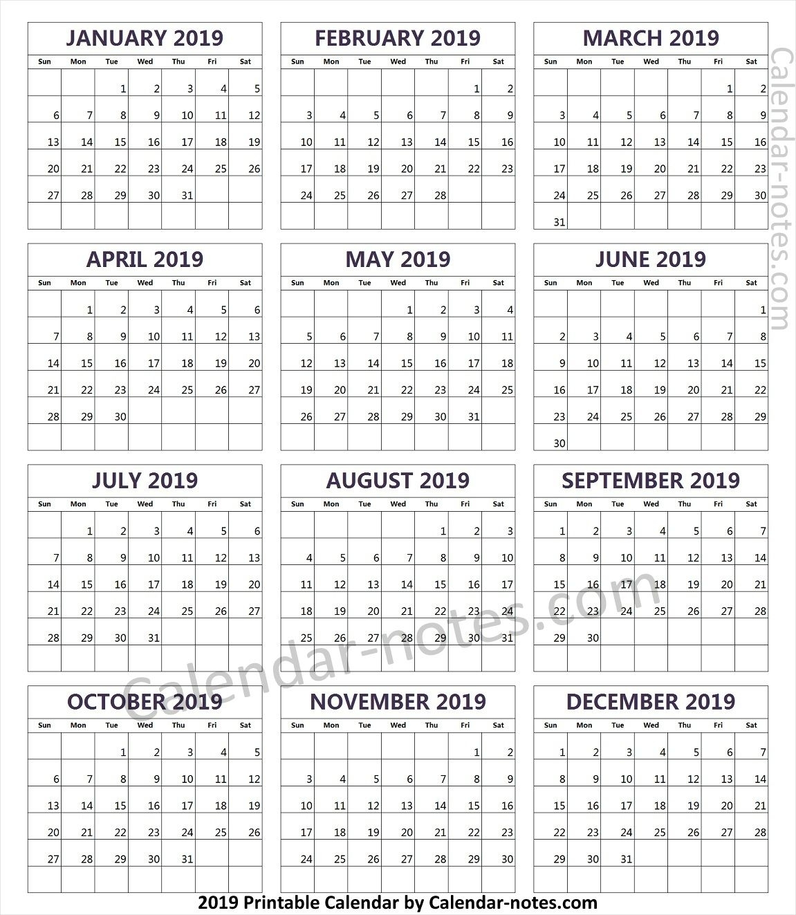 2019 Year Calendar Free | Yearly Calendar 2019 | 2019