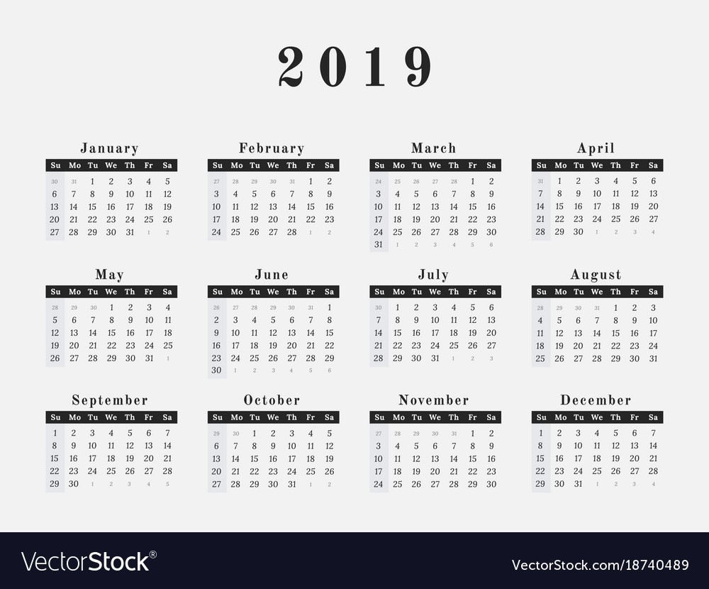 2019 Year Calendar Horizontal Design