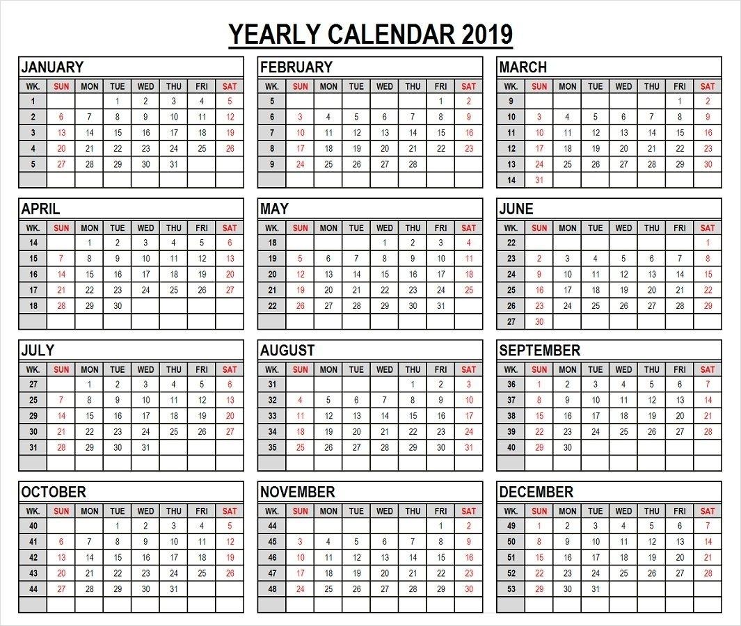 2019 Year Calendar In Weeks | 2019 Calendar, Calendar, Templates