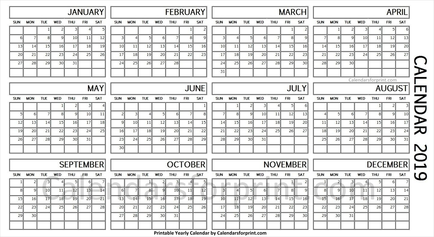 2019 Year Calendar On One Page | Calendar, Yearly Calendar