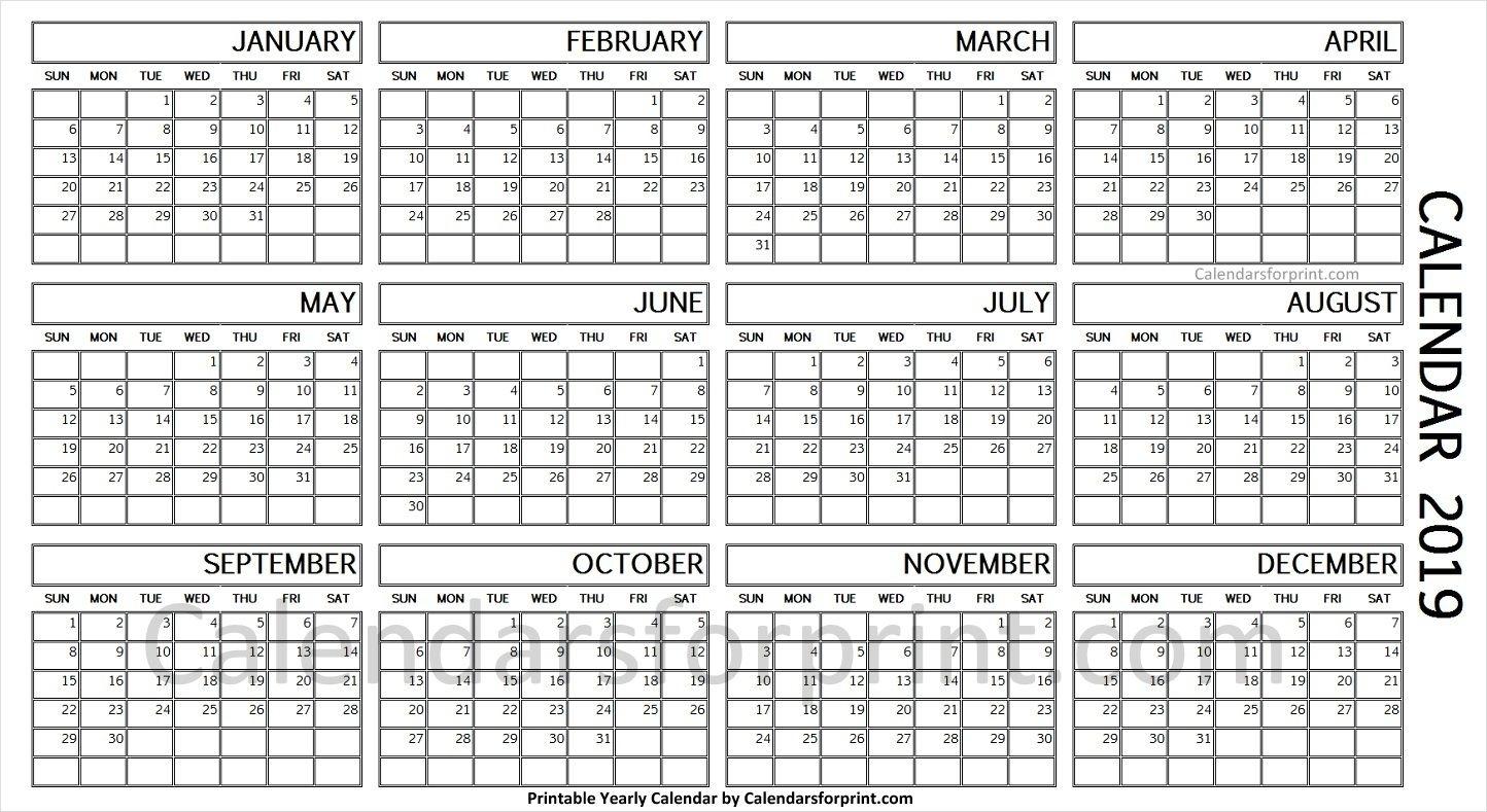 2019 Year Calendar On One Page   Calendar, Yearly Calendar