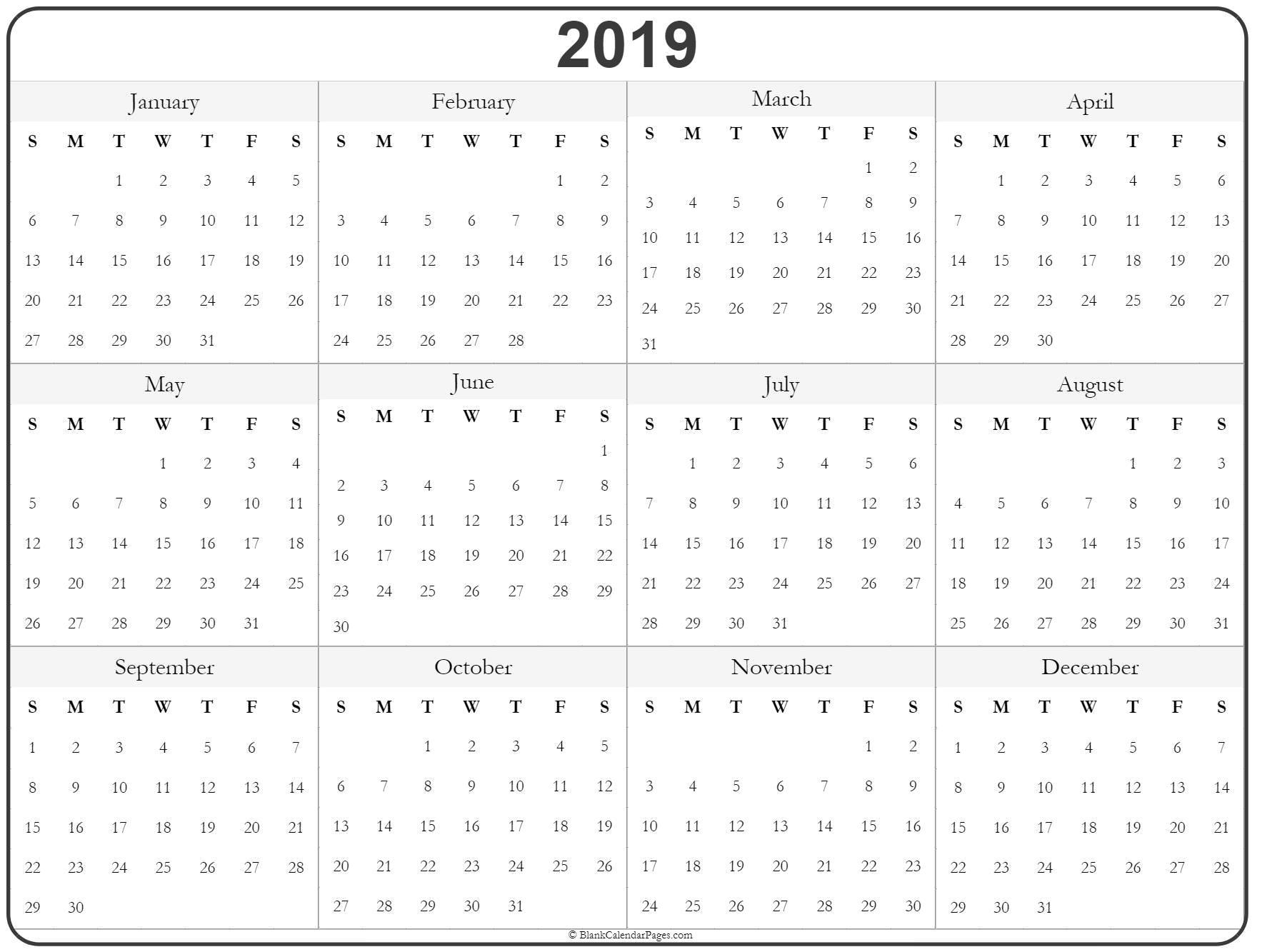 2019 Year Calendar | Yearly Printable