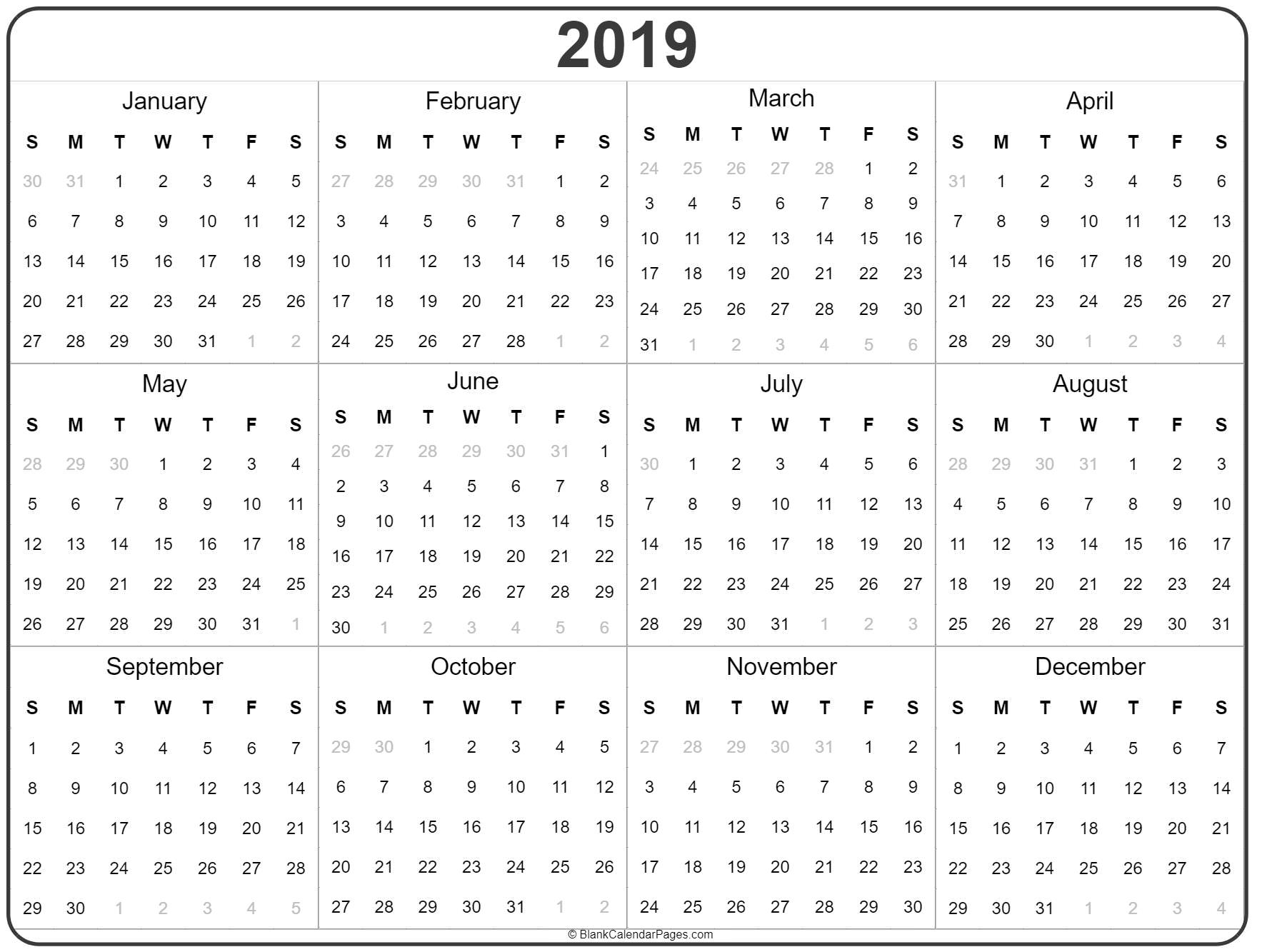 2019 Year Calendar | Yearly Printable