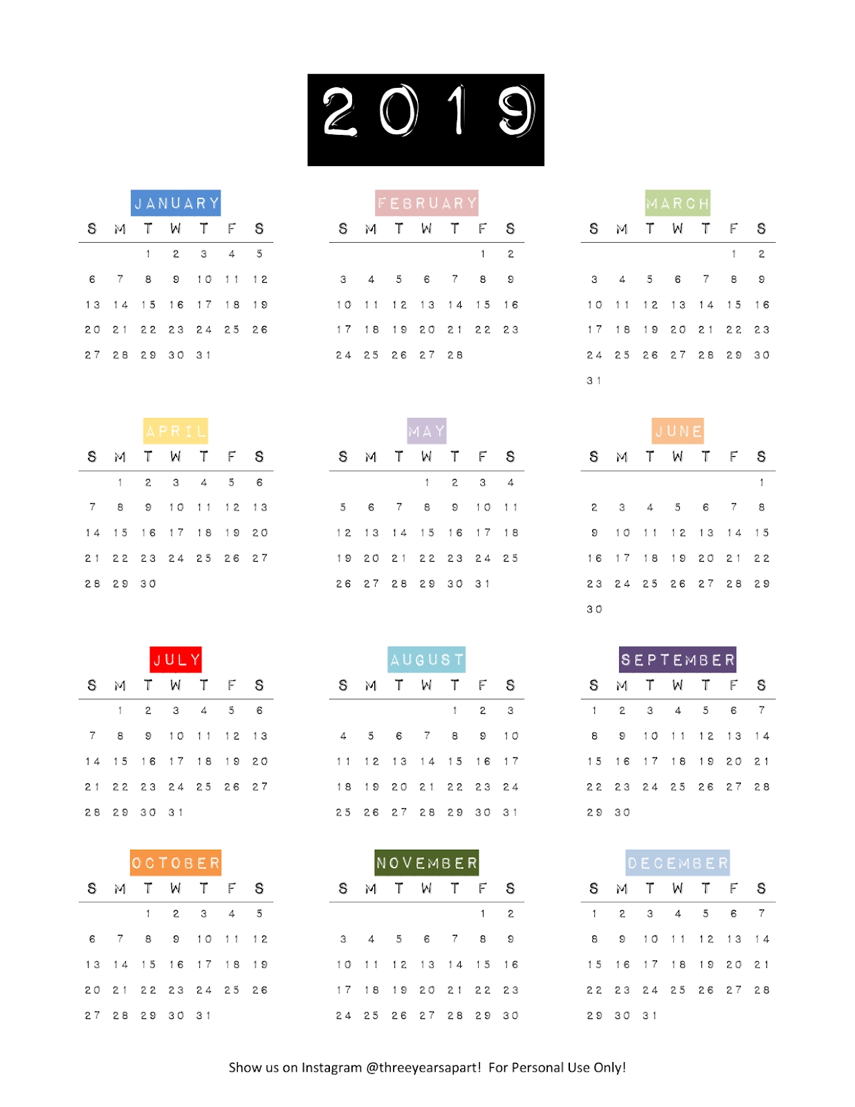 2019 Yearly Calendar Free Printable | Bullet Journal And