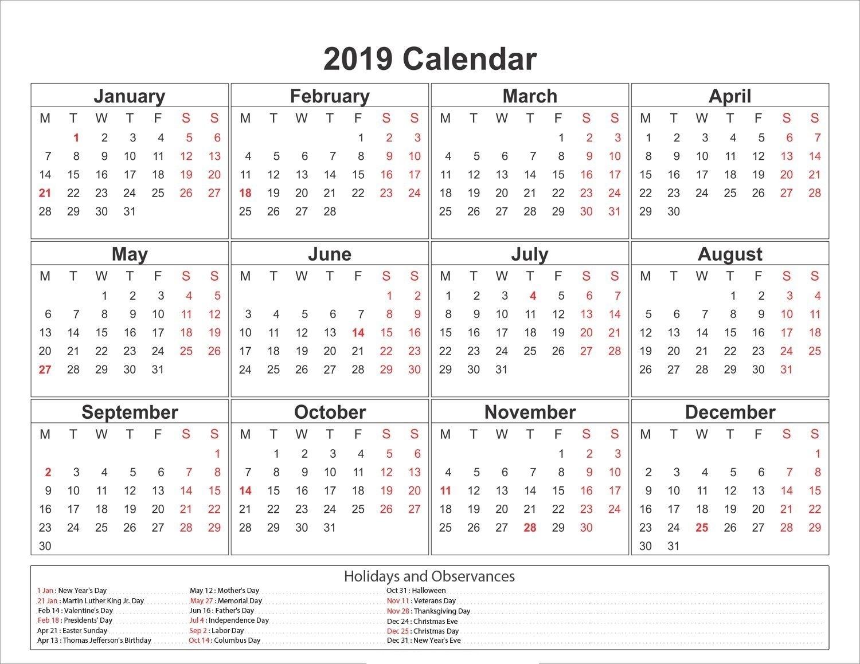 2019 Yearly Calendar Printable #2019Calendar
