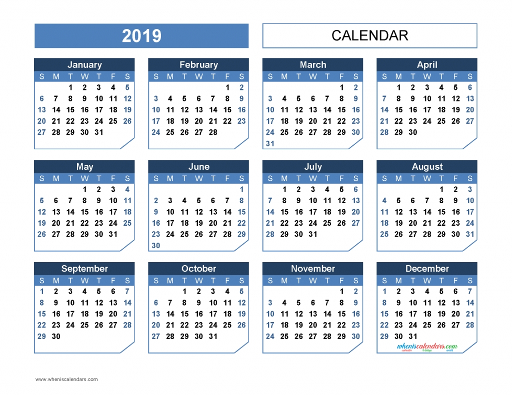 2019 Yearly Calendar Printable Template [Office Style, Us
