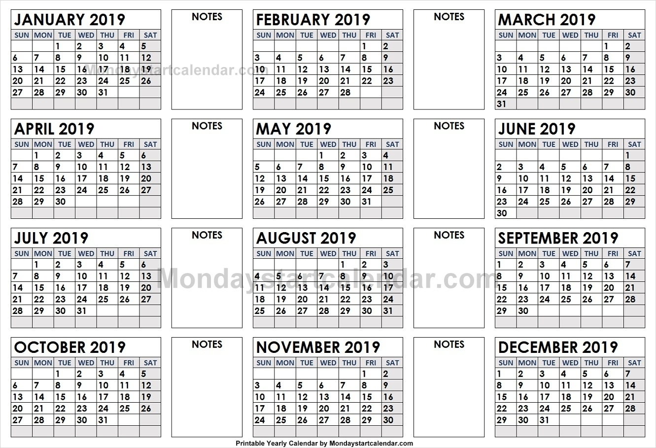2019 Yearly Calendar With Blank Notes | Editable 2019 Yearly
